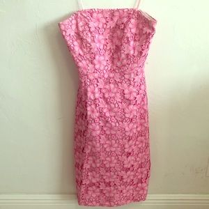 Lilly Pulitzer strapless pink floral dress